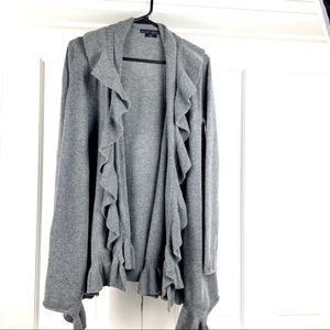 Alice + Olivia  gray long wool cashmere cardigan